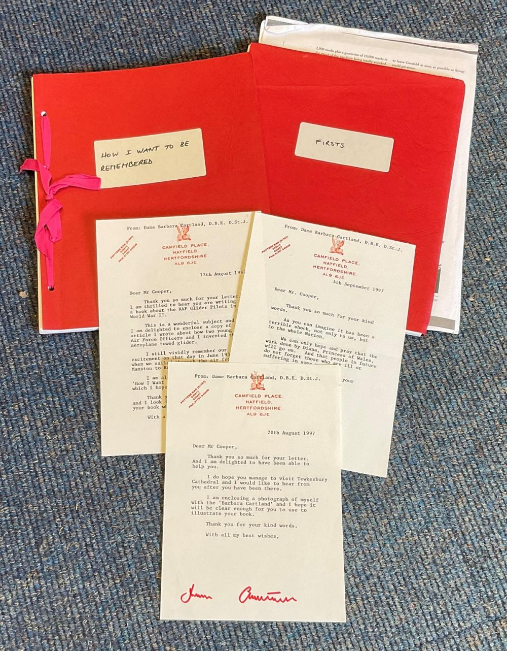 Barbara Cartland collection includes 3 TLS to RAF historian Mike Cooper and two typed original