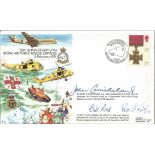 Raf Rescue Services First Day Cover Signed By 3 Victoria Cross Holders John Cruikshank, Bill Reid