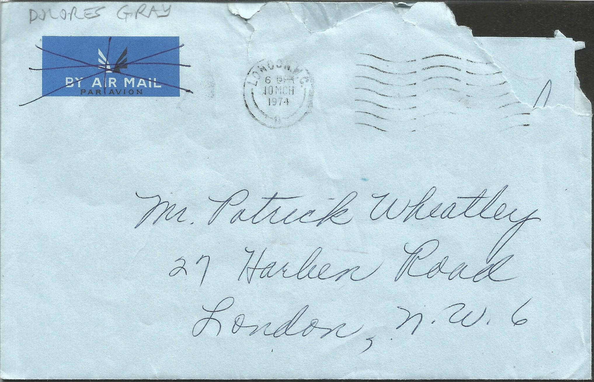 Dolores Gray ALS dated 9th March 1974. This hand written letter is on headed paper from Savoy