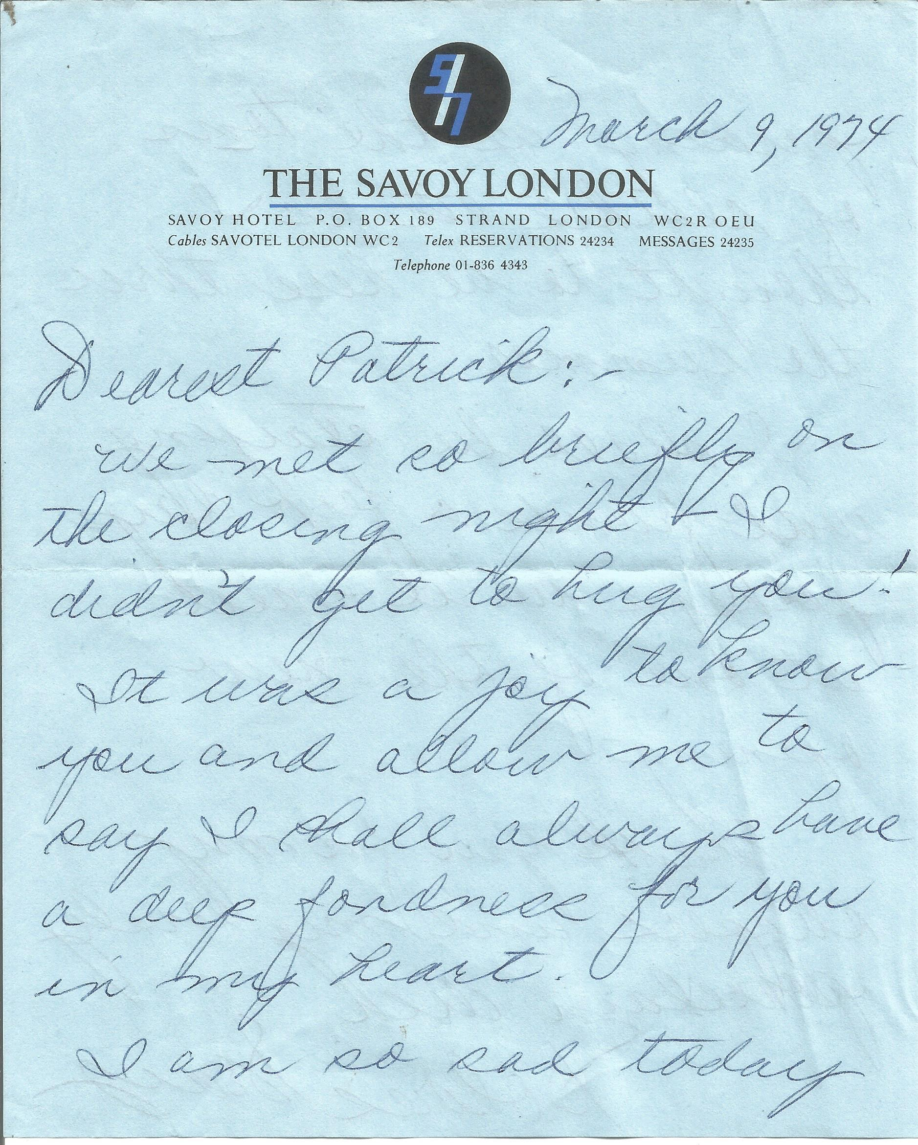 Dolores Gray ALS dated 9th March 1974. This hand written letter is on headed paper from Savoy - Image 2 of 3