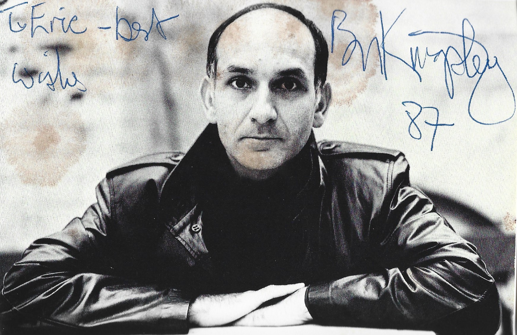 Ben Kingsley signed and dedicated 6x4 black and white photograph. Kingsley is best known for his
