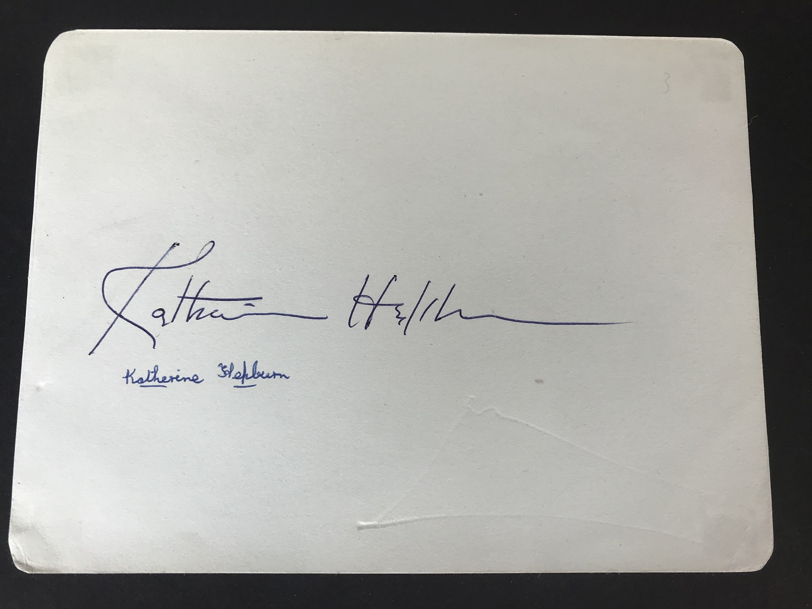 Katherine Hepburn signed autograph album page, mounted with a 10x8 black and white photo of - Image 2 of 2