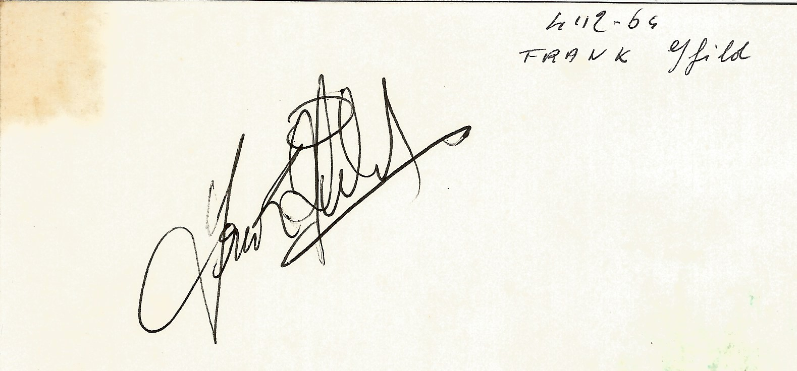 Frank Ifield signed to clear back of vintage Tiberio Restaurant 4 x 3 inch contact card. From