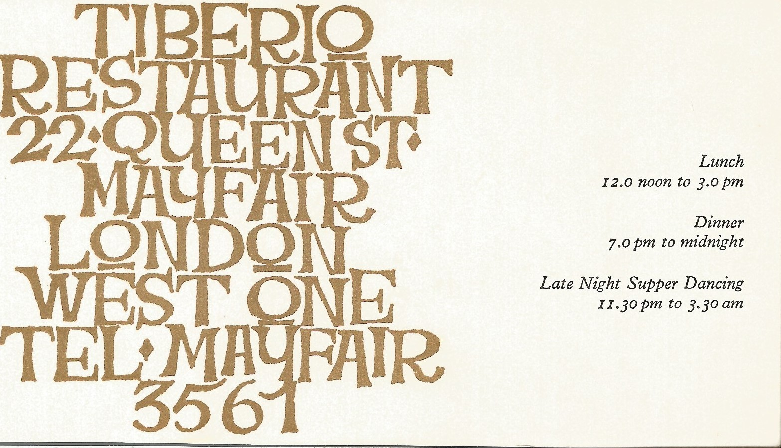 Barbara Streisand signed to clear back of vintage Tiberio Restaurant 4 x 3 inch contact card. From - Image 2 of 2