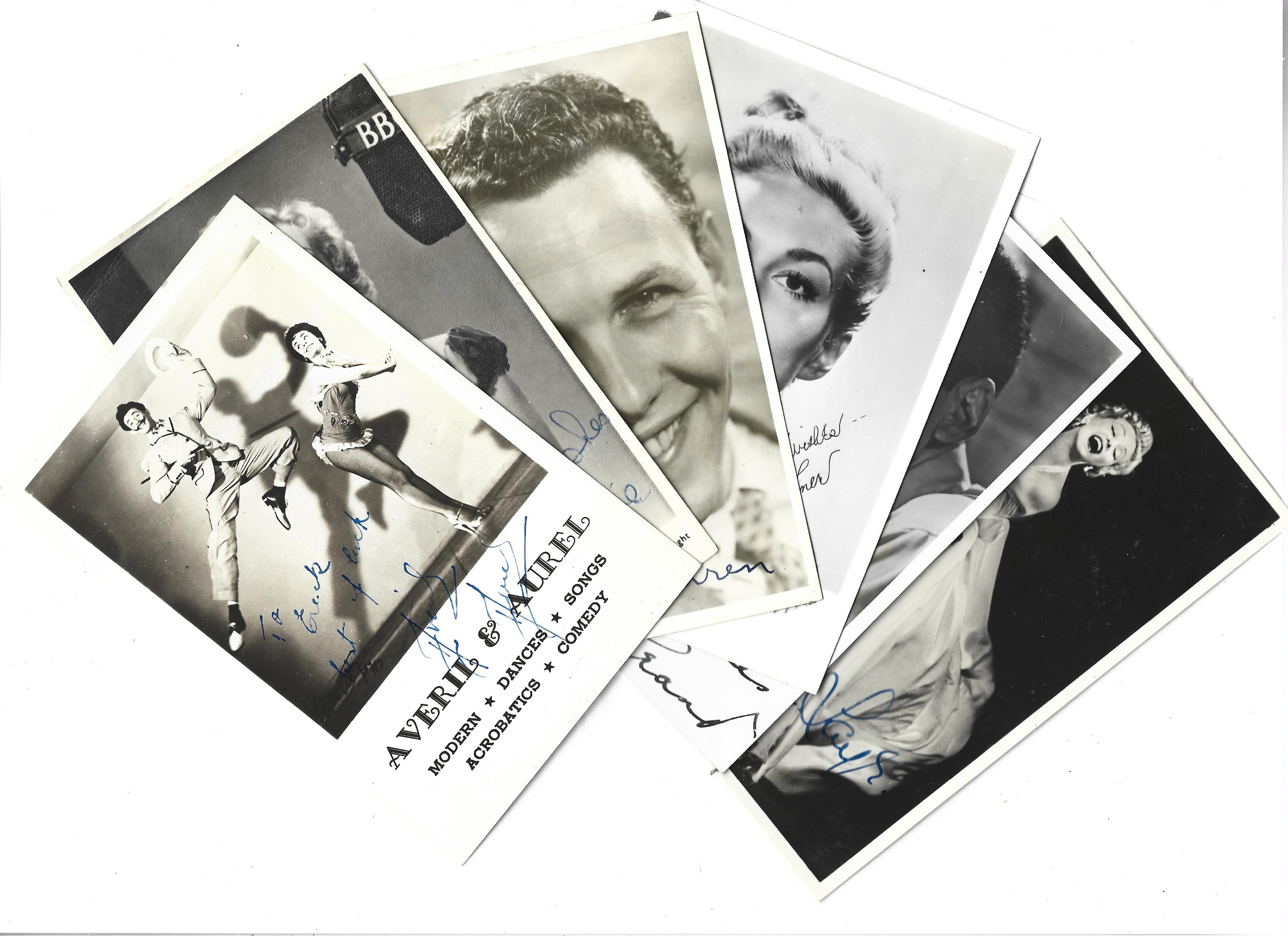 Vintage collection of 80 signed and 14 unsigned entertainment performers. Sizes vary from 9x7 to