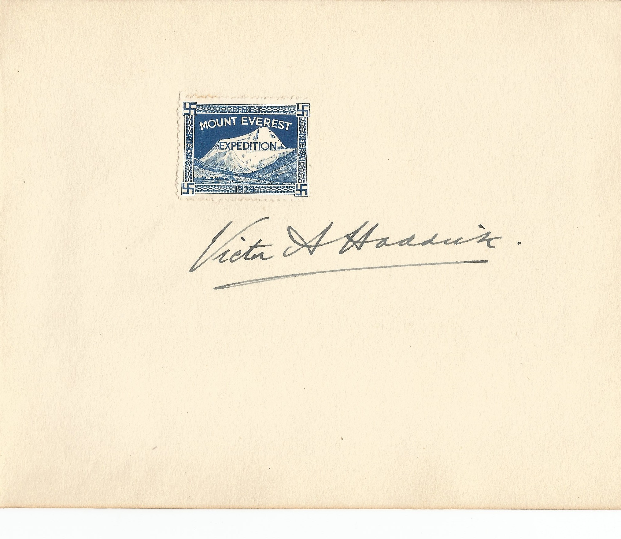 Victor Haddick signed page. Victor Haddick was the Head of Tractor unit on 1924 Everest Expedition