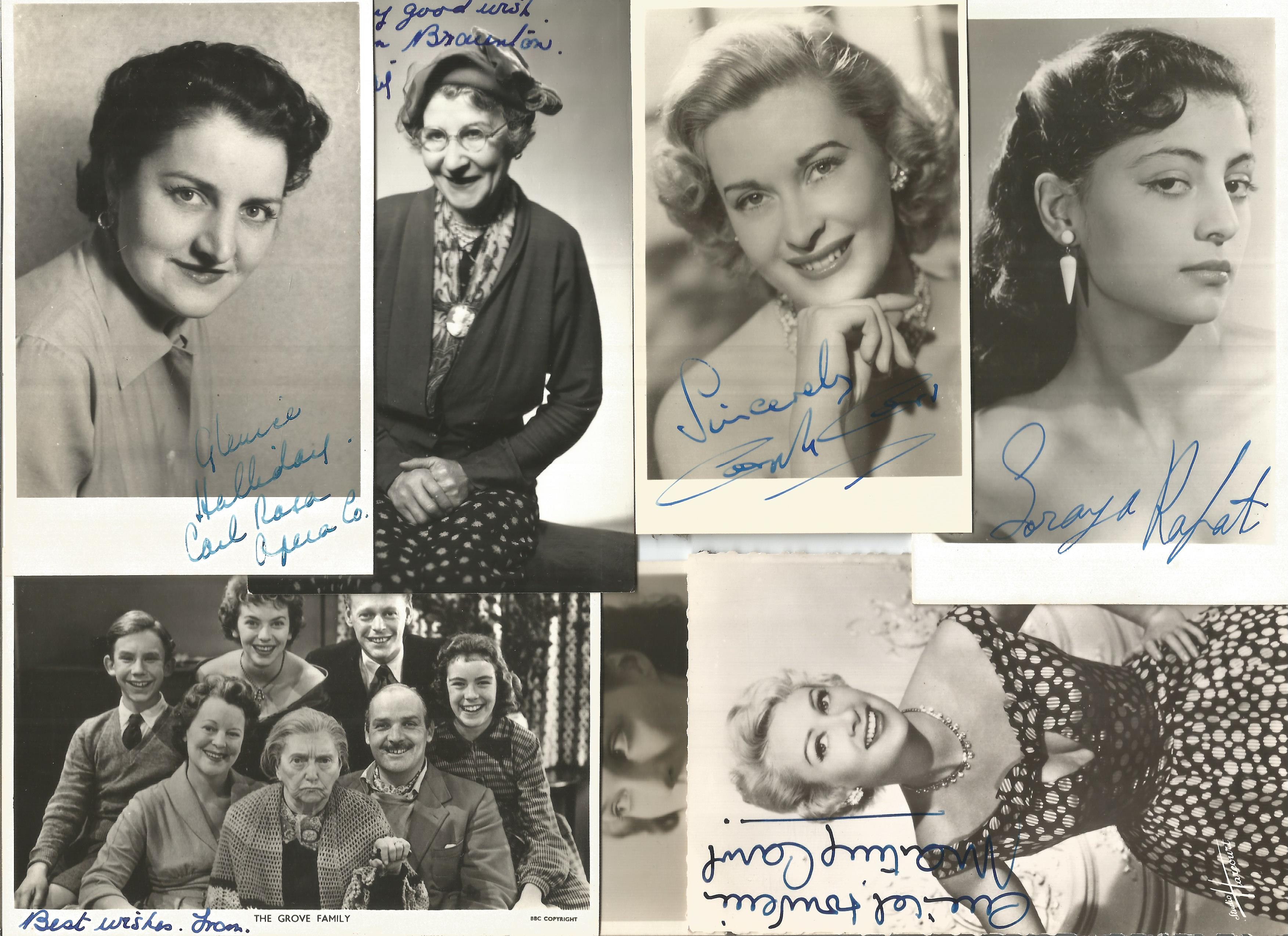TV Film Actresses vintage signed photo collection. 30+ mainly 6 x 4 inch b/w photos. Good - Image 4 of 4