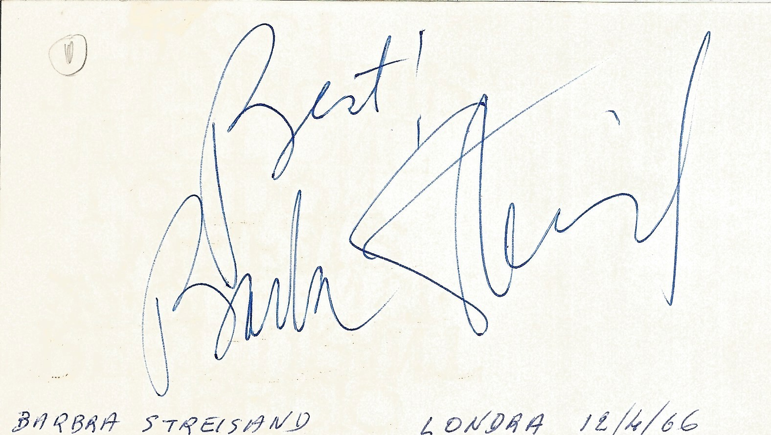 Barbara Streisand signed to clear back of vintage Tiberio Restaurant 4 x 3 inch contact card. From