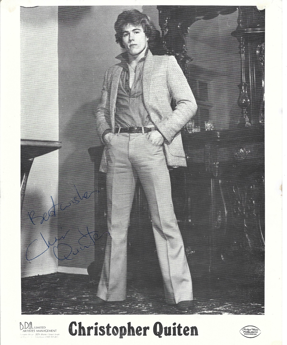 Christopher Quinten 10x8 black and white promo photograph. Quinten is a British actor, best known