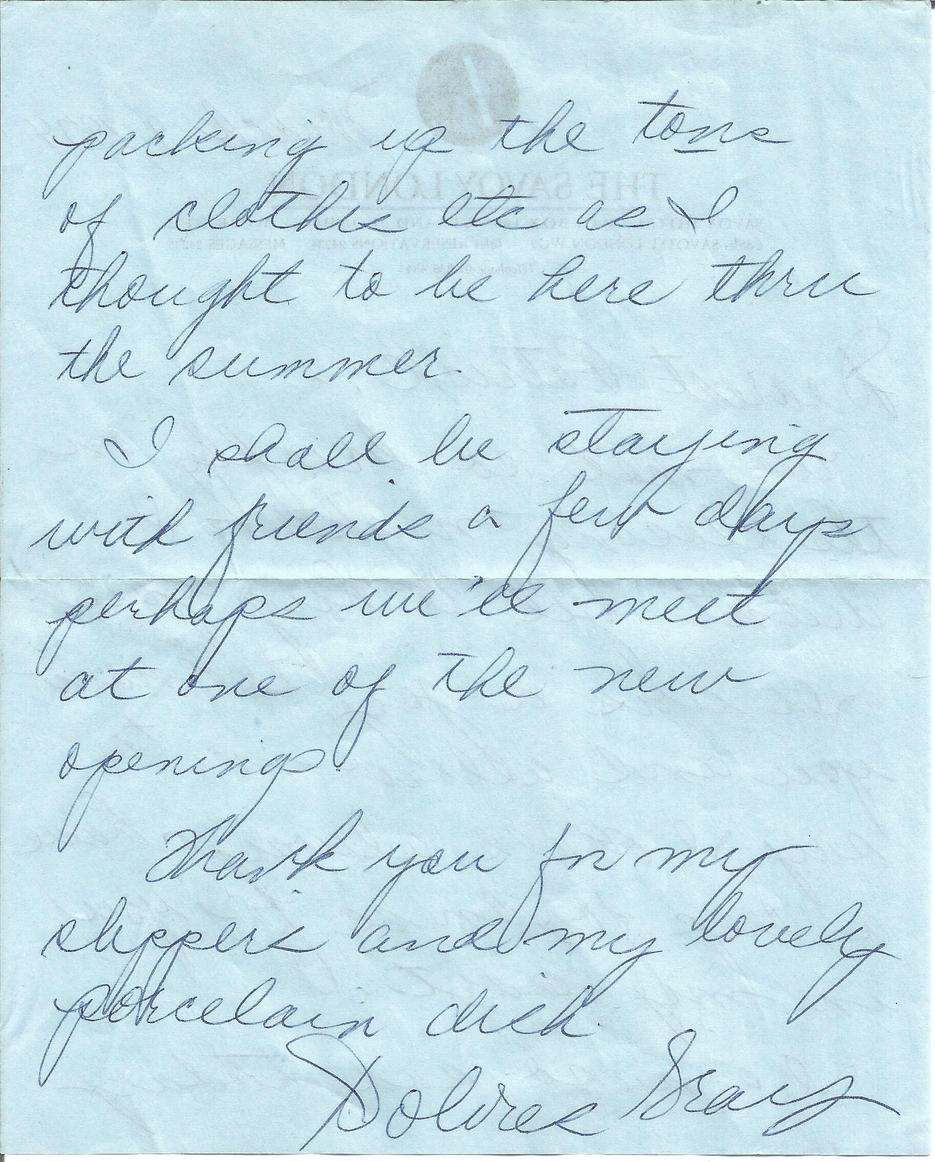 Dolores Gray ALS dated 9th March 1974. This hand written letter is on headed paper from Savoy - Image 3 of 3