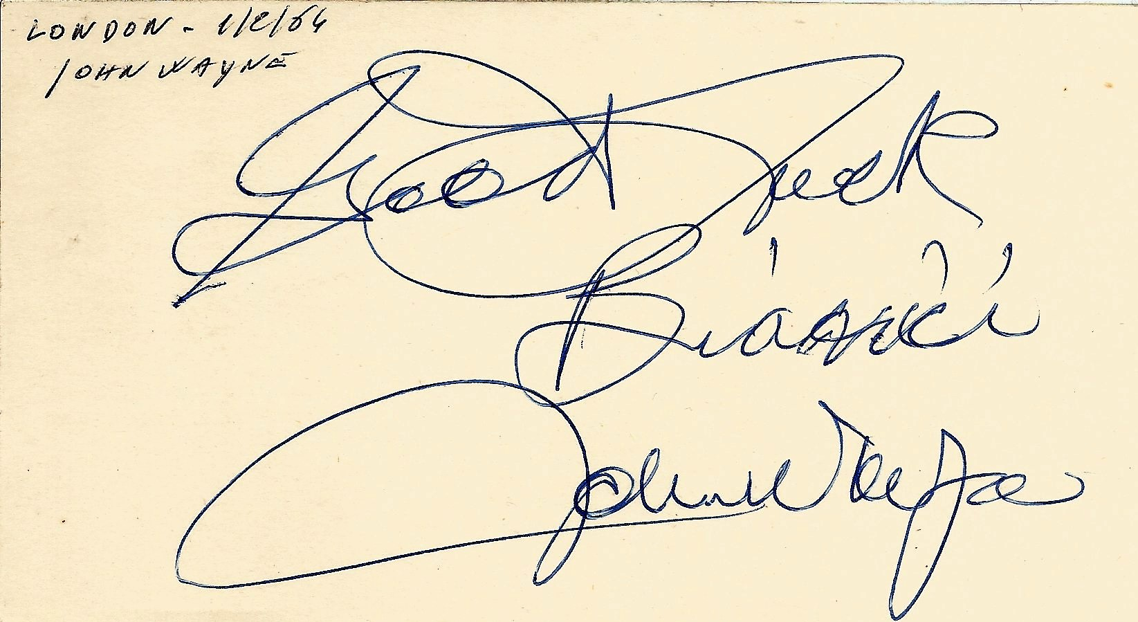John Wayne signed to clear back of vintage Tiberio Restaurant 4 x 3 inch contact card. Inscribed