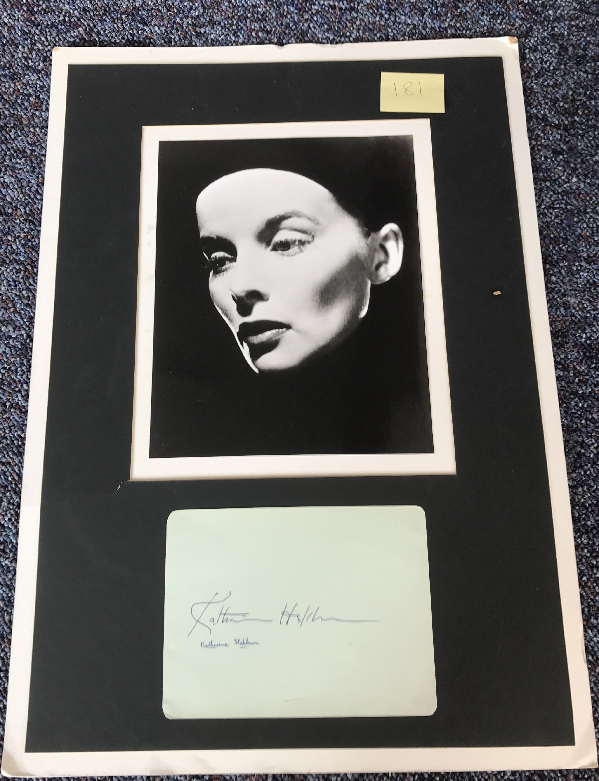 Katherine Hepburn signed autograph album page, mounted with a 10x8 black and white photo of