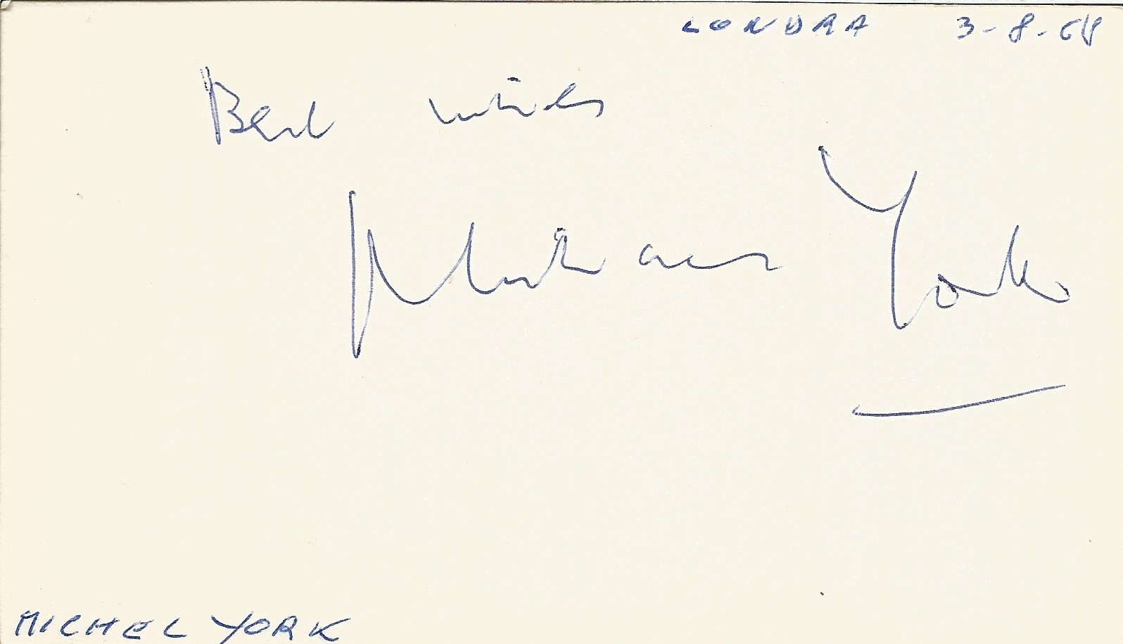 Michael York signed to clear back of vintage Tiberio Restaurant 4 x 3 inch contact card. From