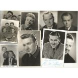 TV Film Actors Music vintage signed photo collection. 30+ mainly 6 x 4 inch b/w photos. Good