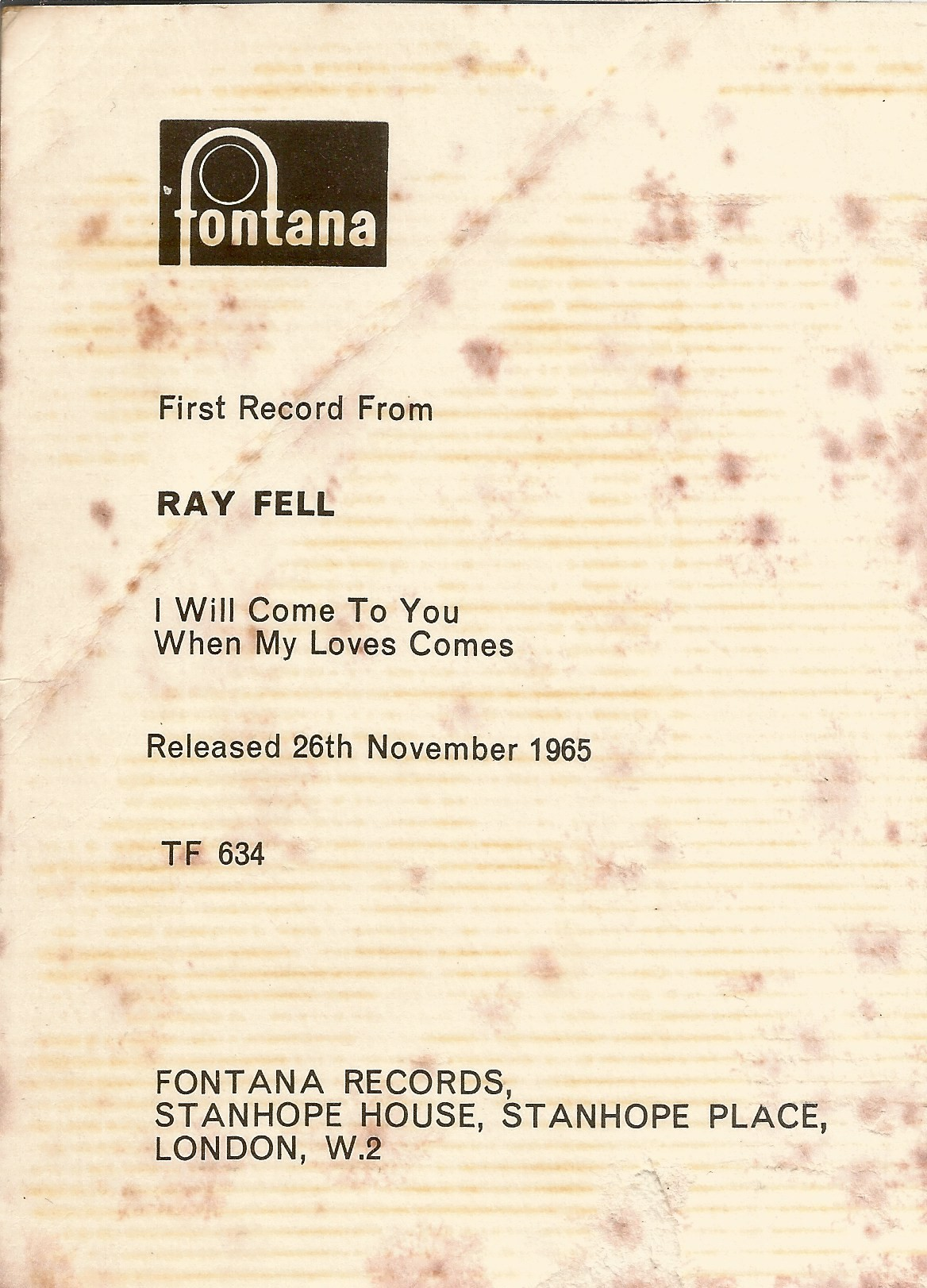 Ray Fell signed music card. 5.5x4.5 signed black and white photo/music card. Ray Fell was born on - Image 2 of 2