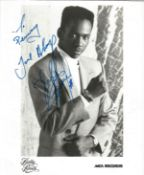 Bobby Brown signed 8x6 black and white photo on MCA Records Official card. Dedicated to Penny.
