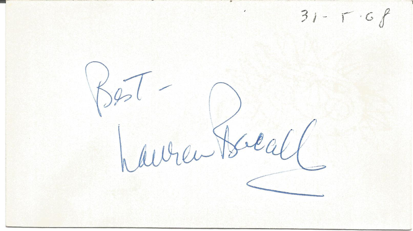 Lauren Bacall signed to clear back of vintage Mario and Francos Terrazza Restaurant 4 x 3 inch