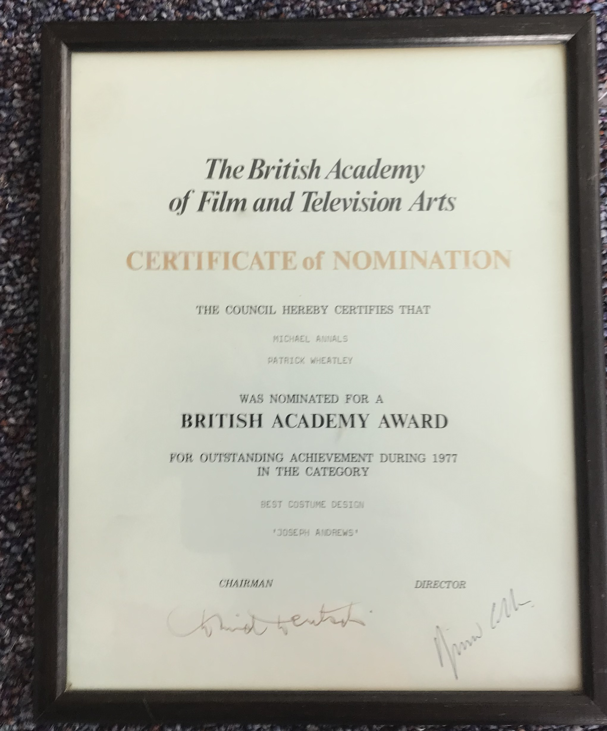 Krishnendu Majumdar and one unidentified signed and framed signed certificate for The British