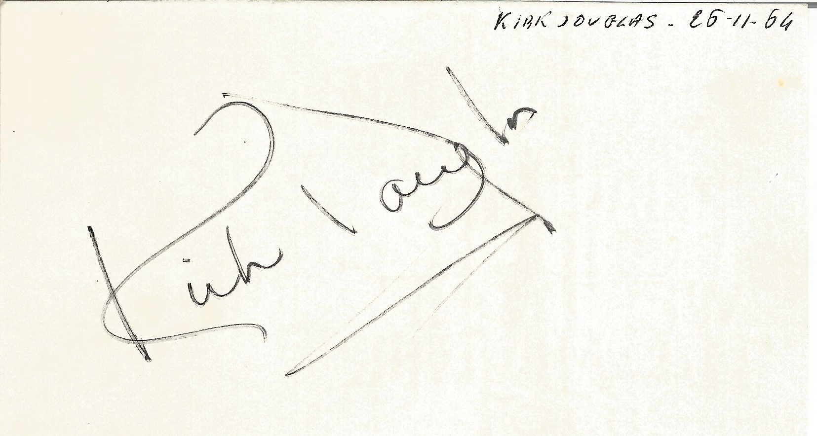 Kirk Douglas signed to clear back of vintage Tiberio Restaurant 4 x 3 inch contact card. From