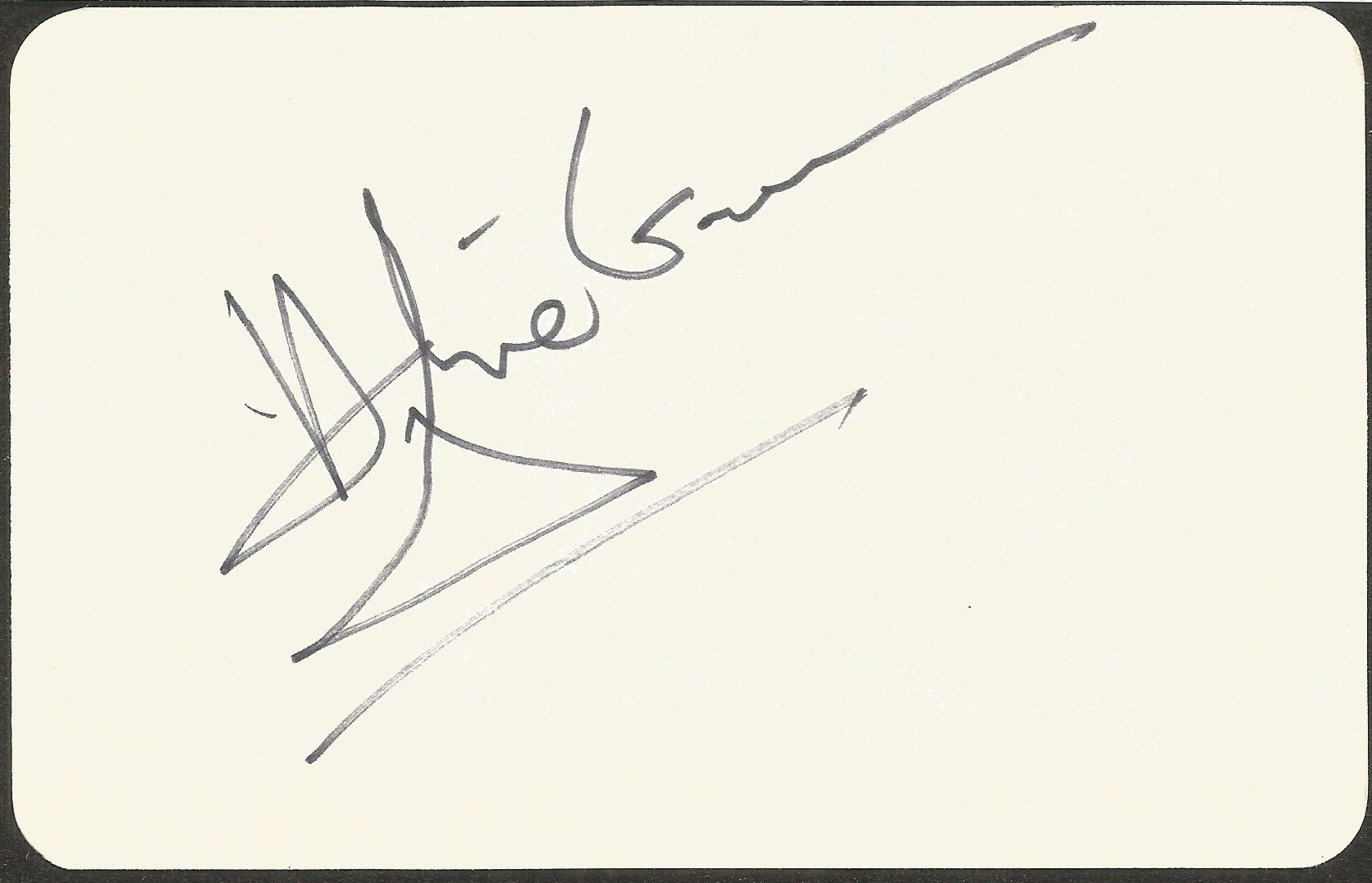 Hughie Green signed 4 x3 cream card. Good condition. All autographs come with a Certificate of