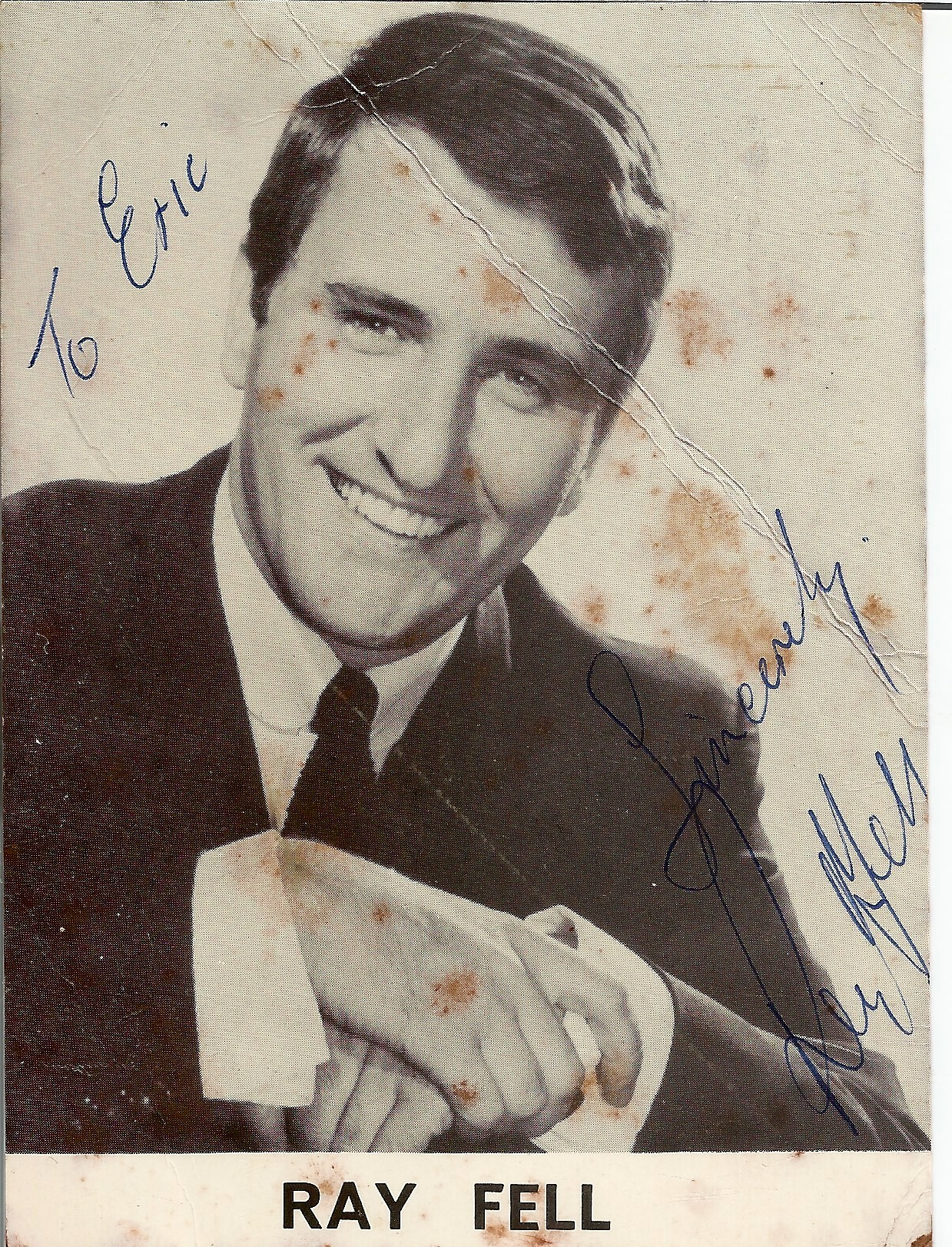 Ray Fell signed music card. 5.5x4.5 signed black and white photo/music card. Ray Fell was born on