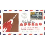 Astronauts Gordon Fullerton signed Apollo 14 FDC. Stamp dated Jan 31st, 1971, with a first man on