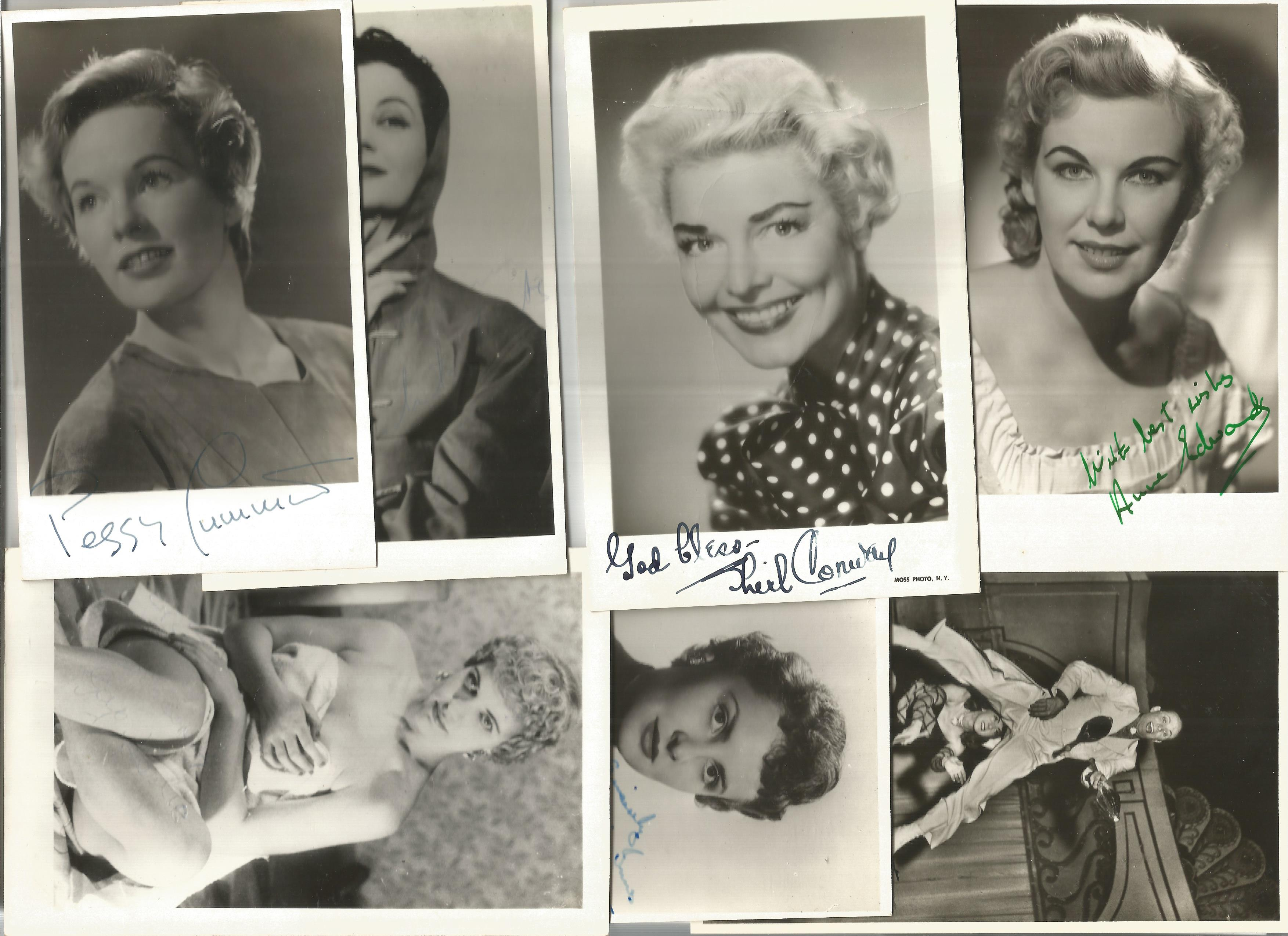 TV Film Actresses vintage signed photo collection. 30+ mainly 6 x 4 inch b/w photos. Good