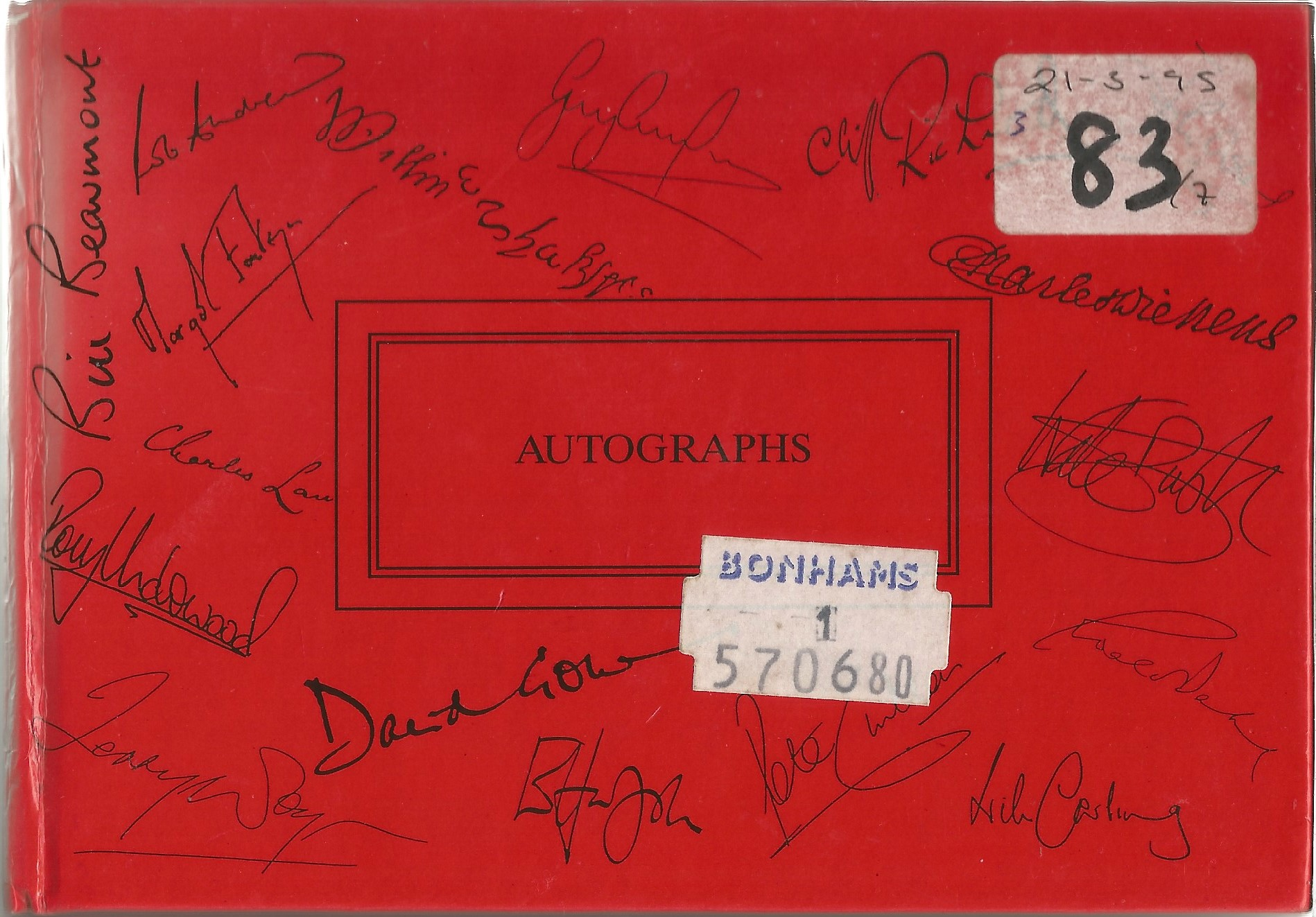 Red 6.5x4.5 Autograph book with 90 signatures including Tony Anholt, Peter Davison, Colin Baker,