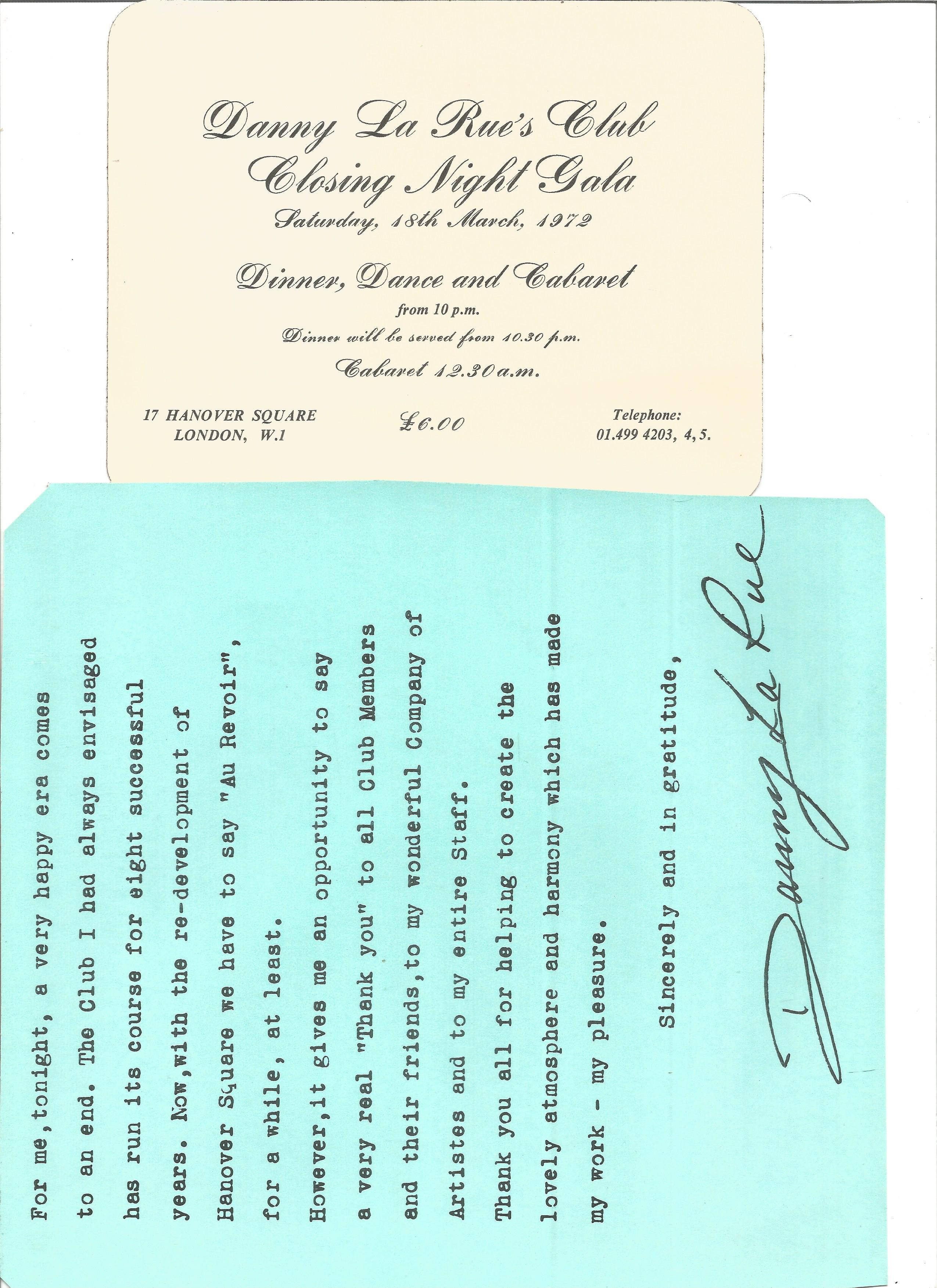 Danny La Rue Nightclub members ticket, menu and note from the last opening night of the club. - Image 2 of 2
