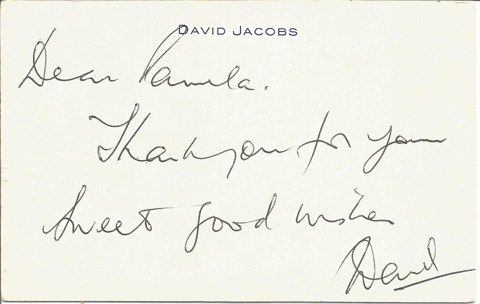 David Jacobs ALS white headed card. Jacobs was a British broadcaster perhaps best known as presenter