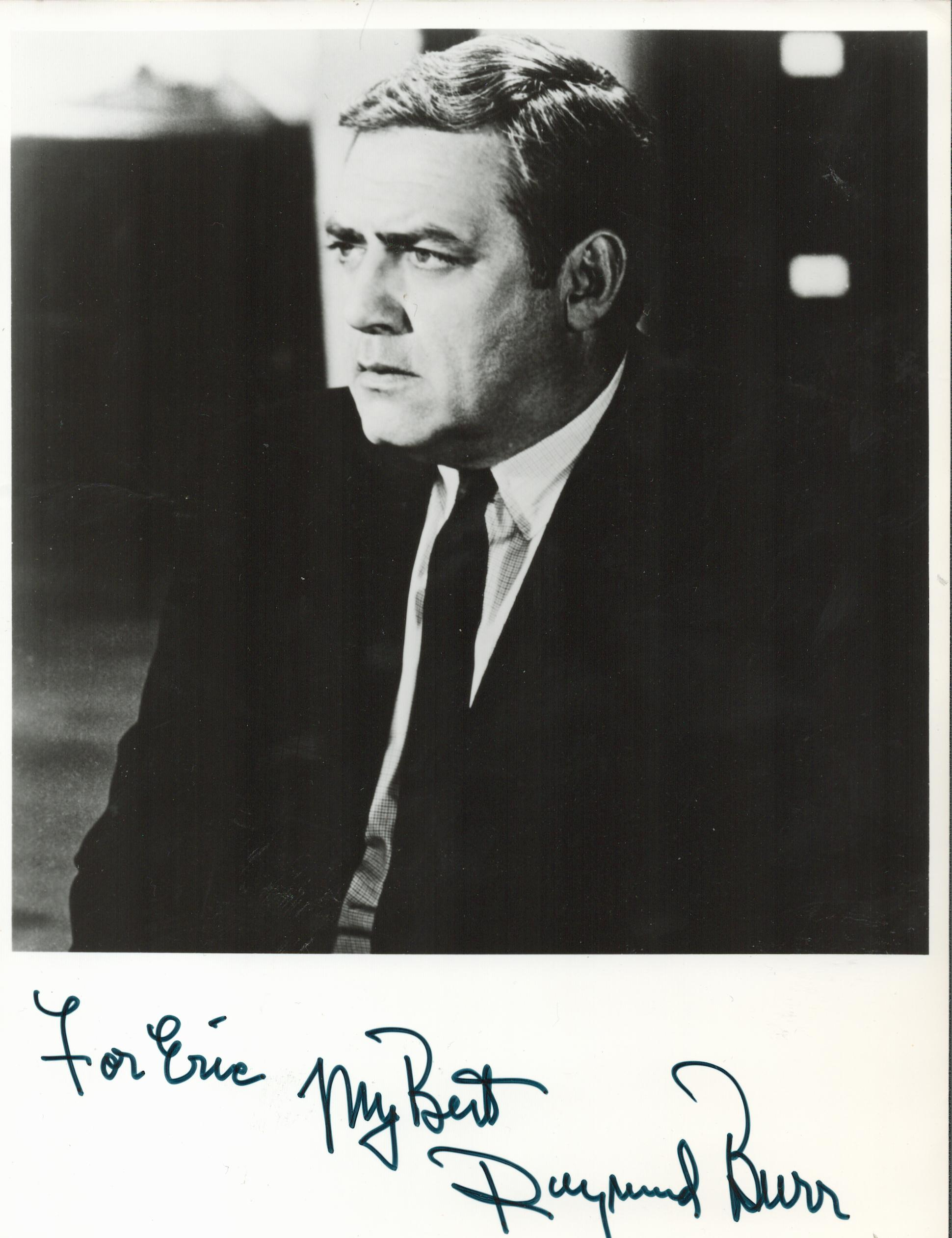 Raymond Burr signed and dedicated 8x6 black and white photograph. Burr was a Canadian-American actor