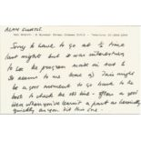 Ned Sherrin ALS on white headed card. Double sided, Sherrin writes to Alan Curtis, English acter.