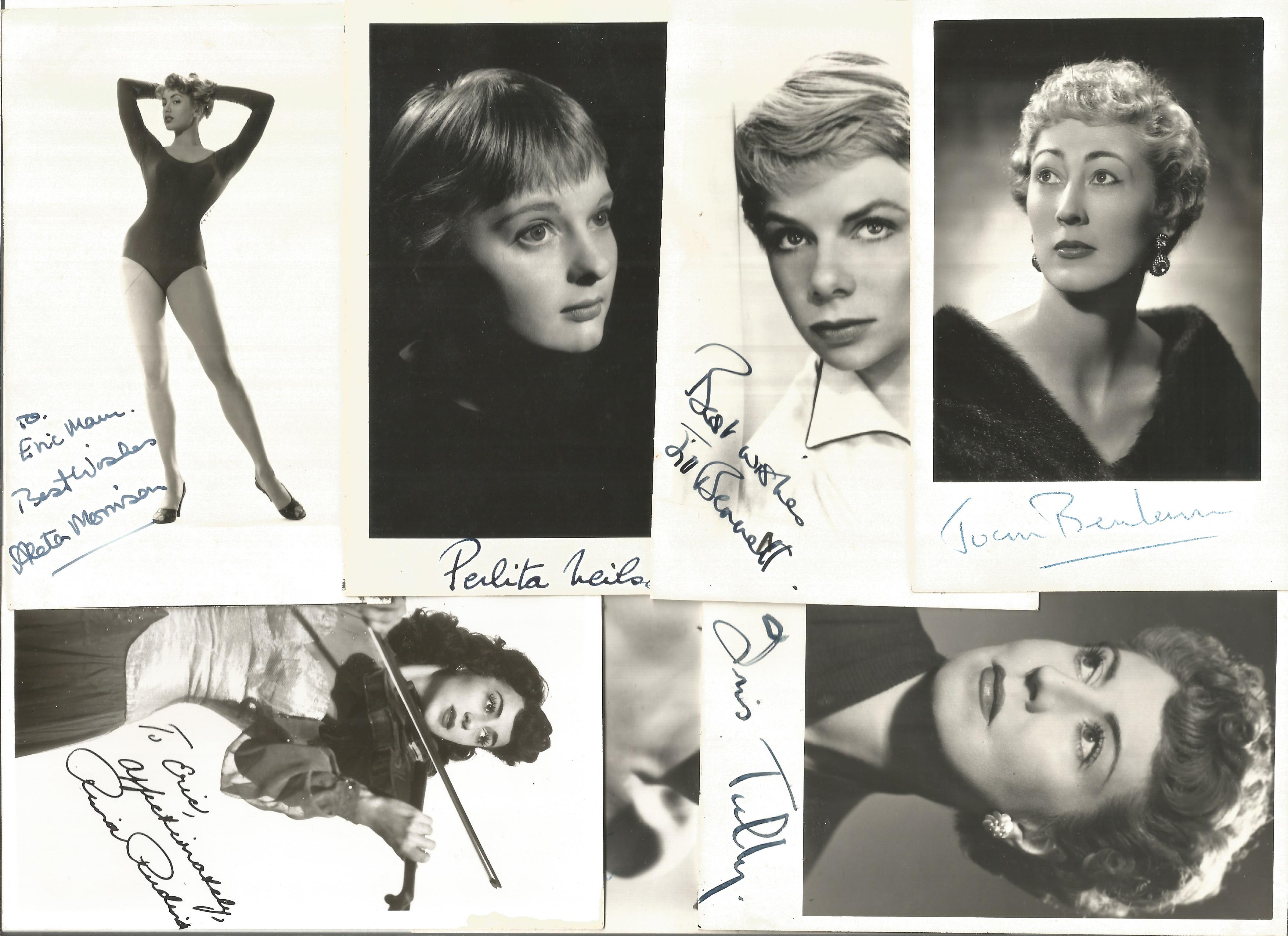 TV Film Actresses vintage signed photo collection. 30+ mainly 6 x 4 inch b/w photos. Good - Image 3 of 4