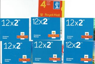 GB mint stamp Booklets approx. £36+ face value. One Book of 4 x 2nd, Six Books 12 x 2nd Christmas