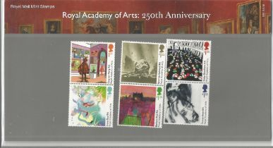 GB mint stamps Presentation Pack no 556 Royal Academy of Arts 250th Anniversary 2018. Good