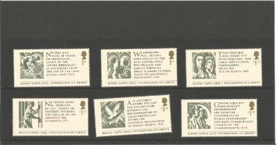 GB mint stamps set of six Magna Carta - Foundation of Liberty Stamps 2 x 1st, 2 x £1.33, 2 x £1. 52.