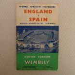 England Football Programme. England v Spain November 30th, 1955, First Floodlit game at Wembley