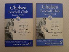 Vintage Football Programmes. 2 x Chelsea 1950 / 51 Season football programmes comprising v Arsenal