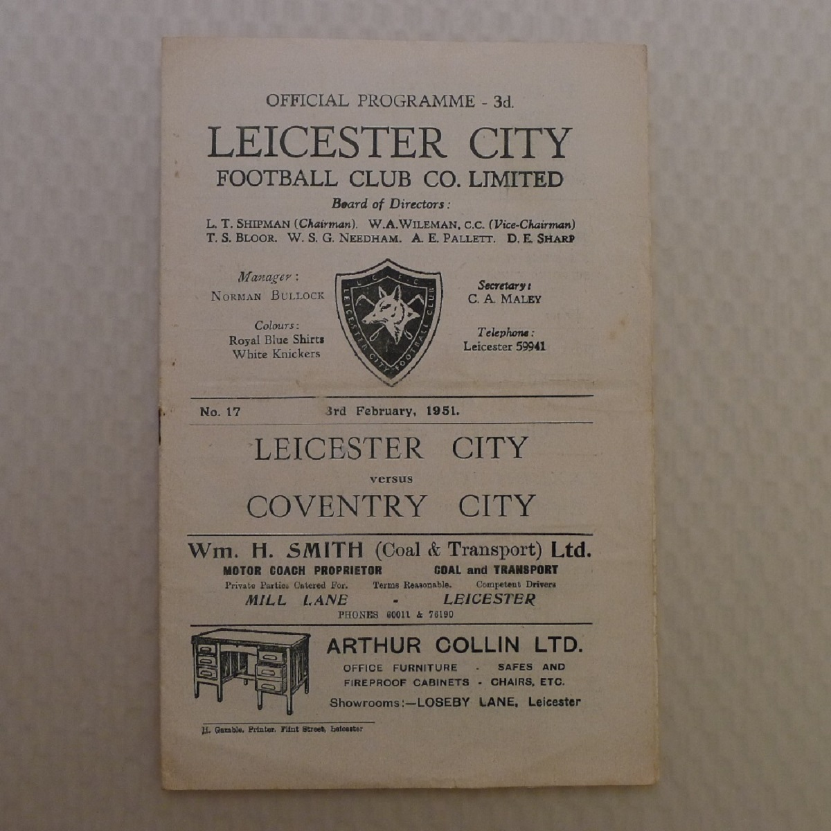 Vintage Football Programmes. 1 x Leicester City v Coventry City February 3rd, 1951, football