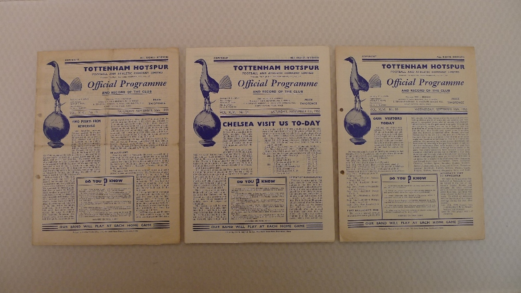 Vintage Football Programmes. 3 x Tottenham Hotspur 1953 football programmes comprising v Burnley