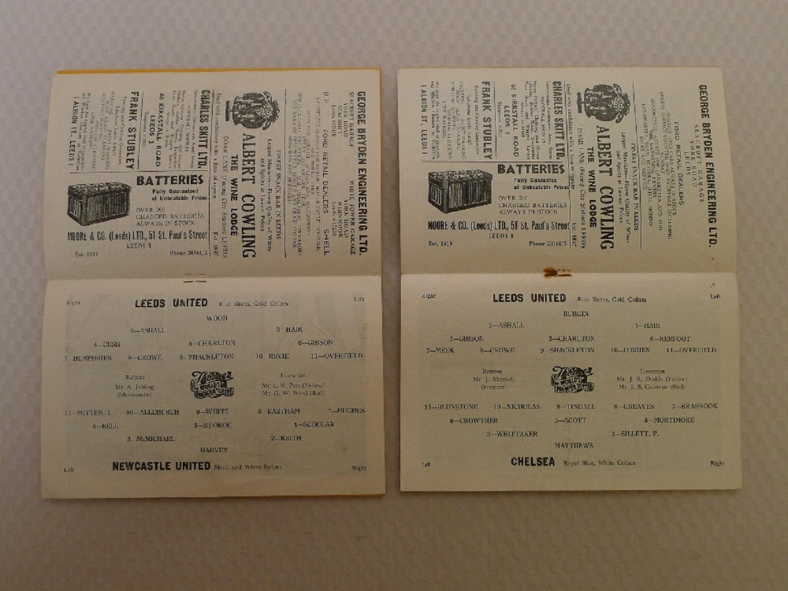 Vintage Football Programmes. 4 x Leeds United 1958 / 59 Season football programmes comprising v - Image 3 of 4