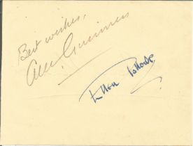 Alec Guinness signed album page. Good condition. All autographs come with a Certificate of