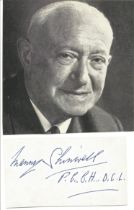 Manny Shinwell(1884 1996) Politician Signed Card With Photo. Good condition. All autographs come
