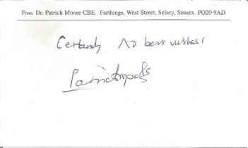 Patrick Moore signed 6x4 white card. Good condition. All autographs come with a Certificate of