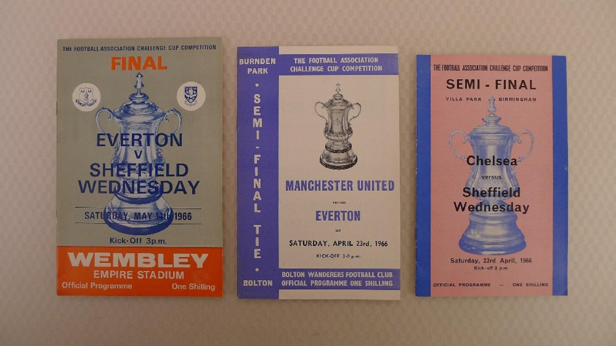 FA Cup football programmes 1966 1 x Final and 2 x Semi Final football programmes comprising Final