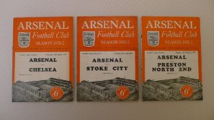 Vintage Football Programmes. 3 x Arsenal 1951/52 Season football programmes comprising v Chelsea