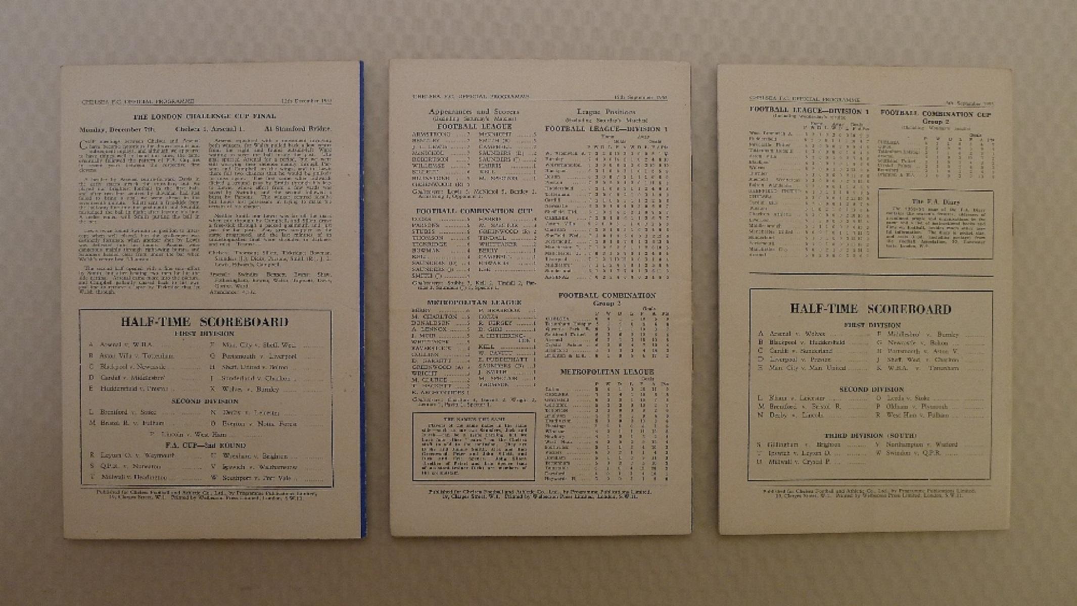 Vintage Football Programmes. 3 x Chelsea 1953 / 54 Season football programmes comprising v Sheffield - Image 2 of 2