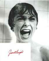 Janet Leigh signed card with 10x8 black and white photo. Good condition. All autographs come with