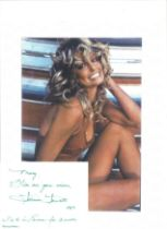 Farah Fawcett signed card with 10x8 colour photo. Good condition. All autographs come with a