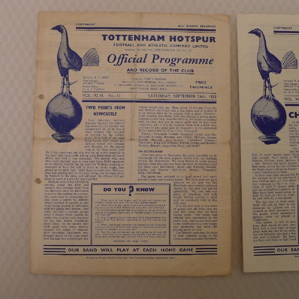Vintage Football Programmes. 3 x Tottenham Hotspur 1953 football programmes comprising v Burnley - Image 2 of 5